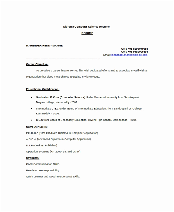 Computer Science Student Resume Fresh Puter Science Resume Example 9 Free Word Pdf