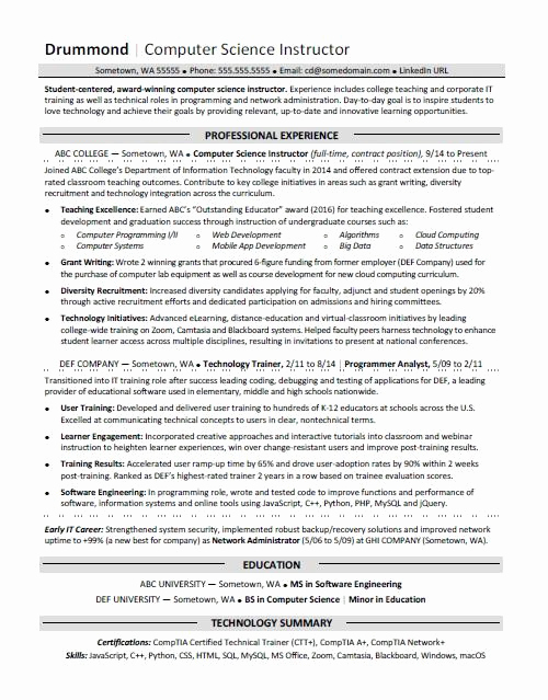 Computer Science Student Resume Fresh Resume Examples for Students