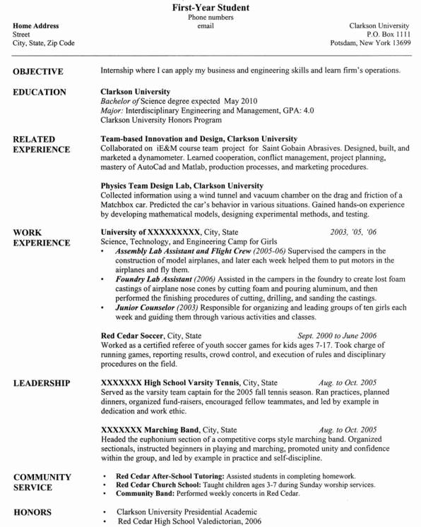 Computer Science Student Resume Fresh University Resume Template