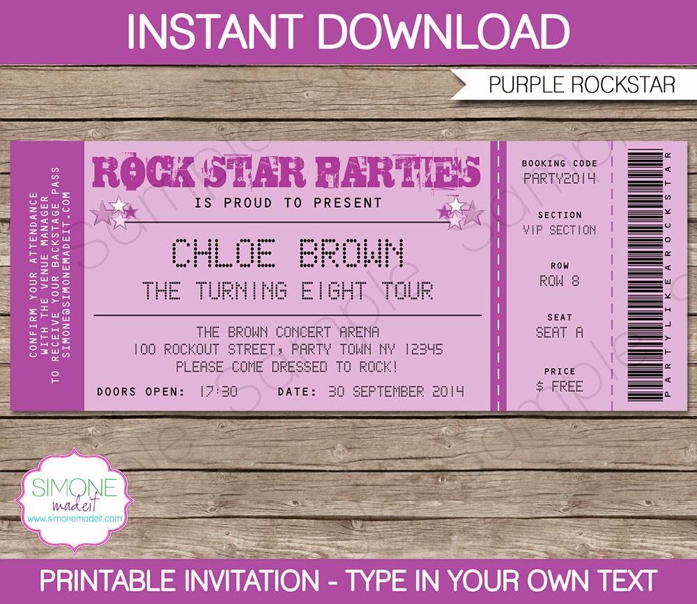 Concert Ticket Template Free Awesome Rock Star Party Ticket Invitations Template