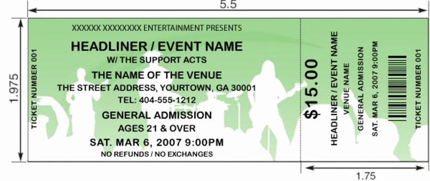 Concert Ticket Template Free Best Of Concert Ticket Template