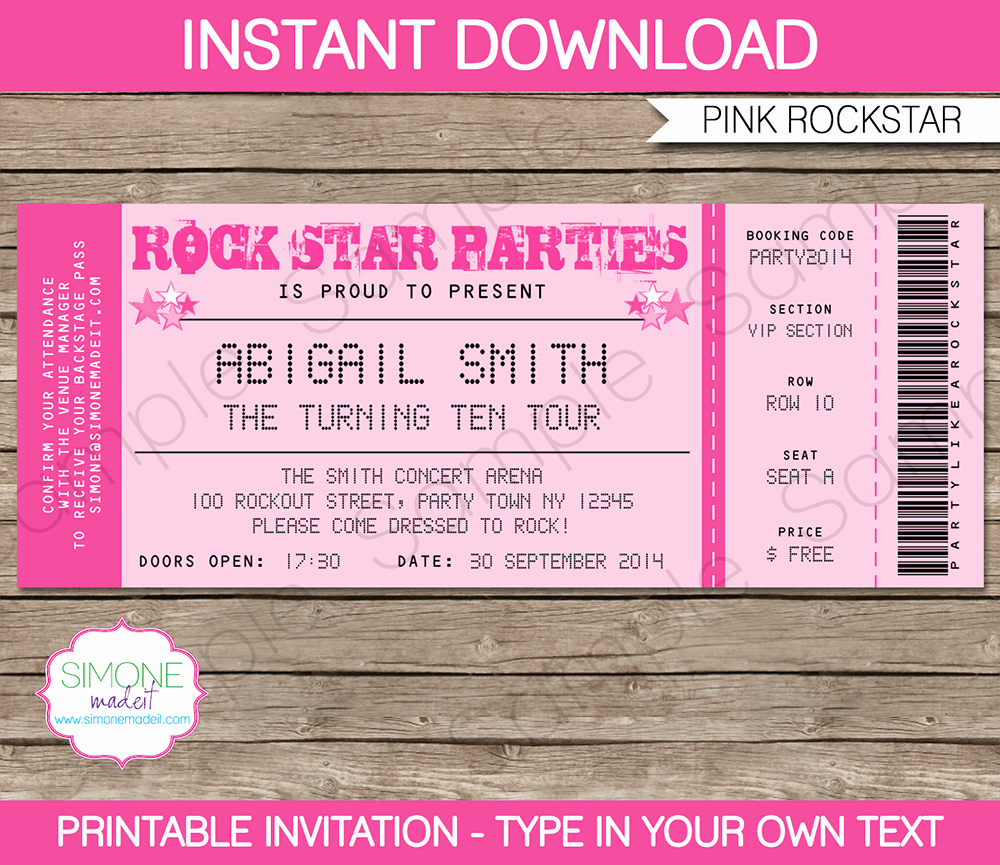 Concert Ticket Template Free Elegant Concert Ticket Invitation Templates