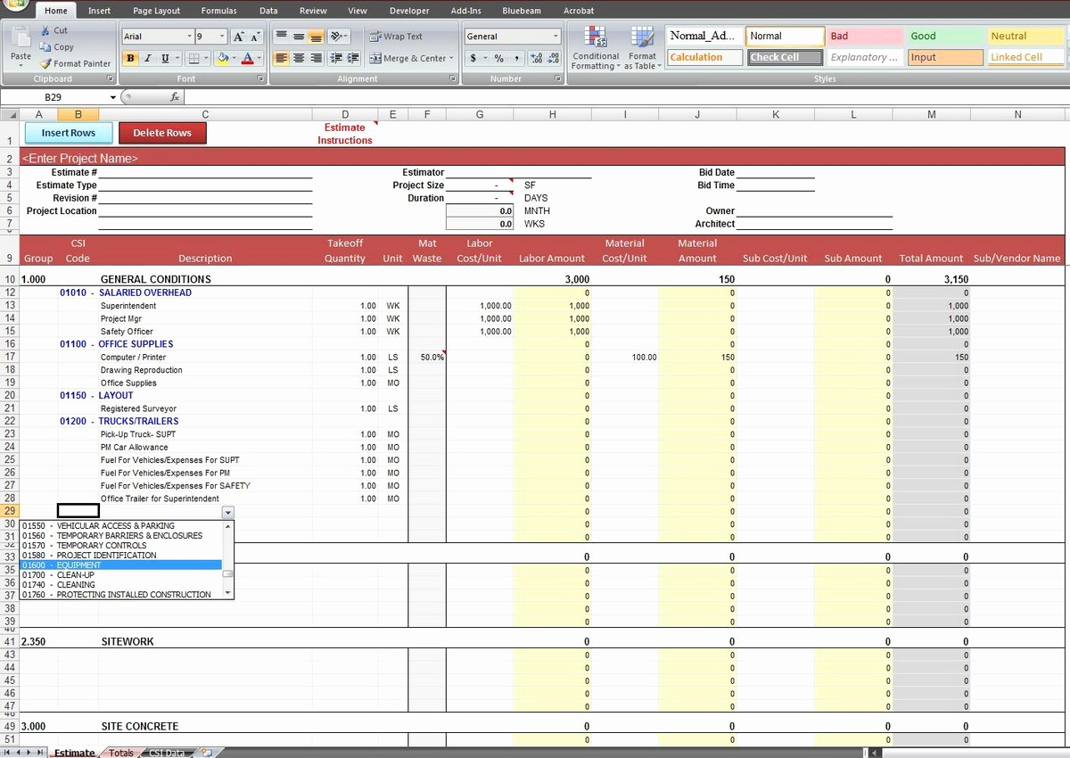 Construction Estimating Spreadsheet Template Elegant Construction Estimating Spreadsheet Template