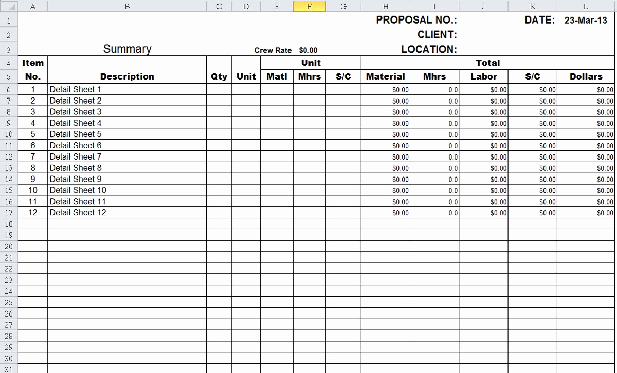 Construction Estimating Spreadsheet Template Unique Construction Cost Estimate Template Excel