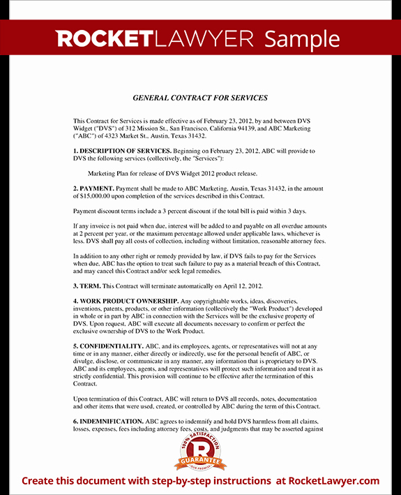 Contract for Services Template Elegant General Contract for Services form Template with Sample