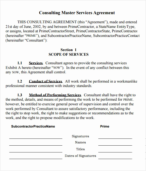 Contract for Services Template Elegant Master Service Agreement 15 Download Free Documents In