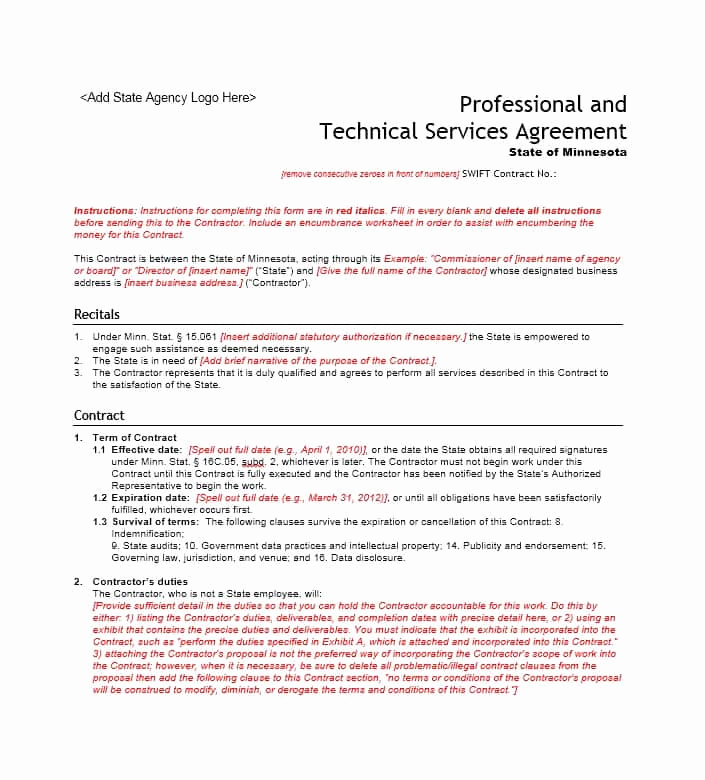 Contract for Services Template Fresh 50 Professional Service Agreement Templates & Contracts