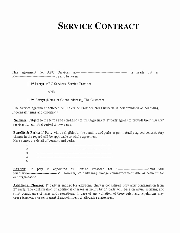 Contract for Services Template Unique Service Contract Template