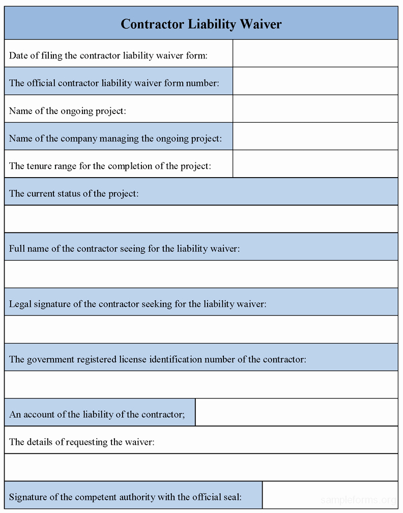 Contractor Liability Waiver form Awesome Contractor Liability Waiver form Sample forms