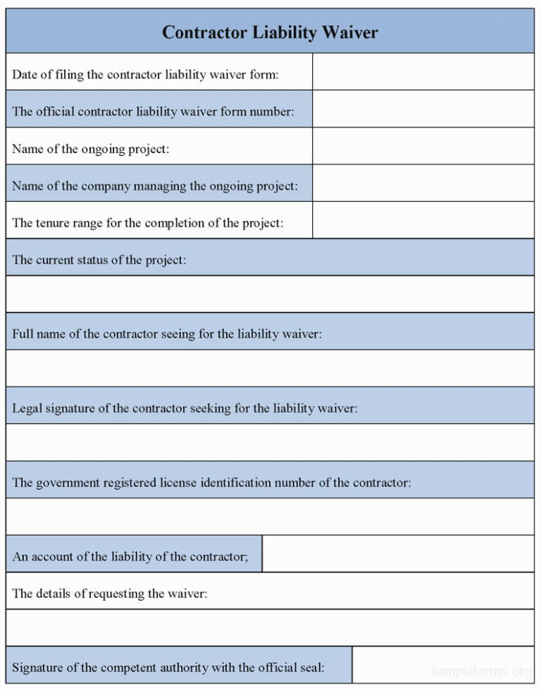 Contractor Liability Waiver form Beautiful 15 Easy Ways to Facilitate