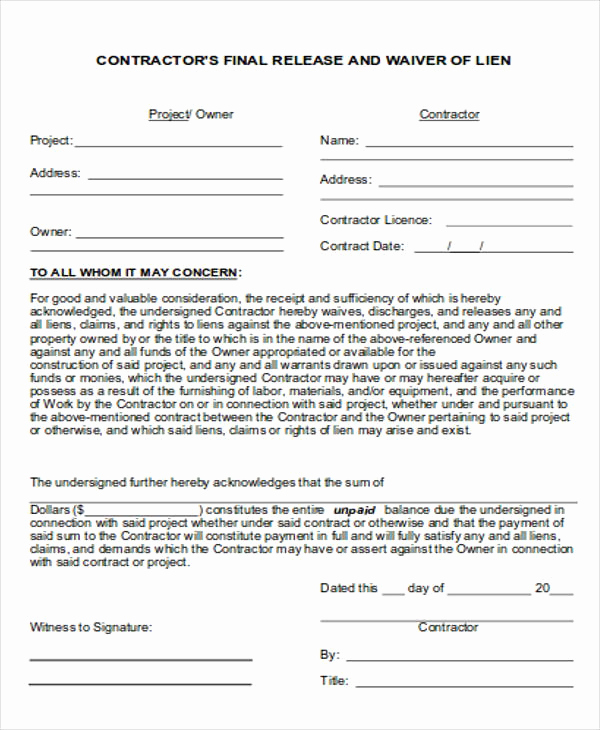 Contractor Liability Waiver form Beautiful General Release Of Liability form Sample 7 Examples In