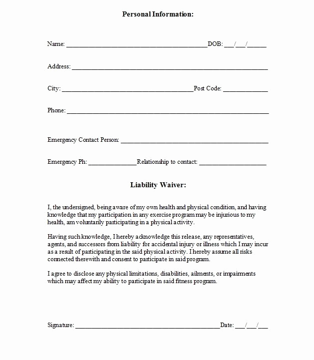 Contractor Liability Waiver form Unique Printable Sample Release and Waiver Liability Agreement