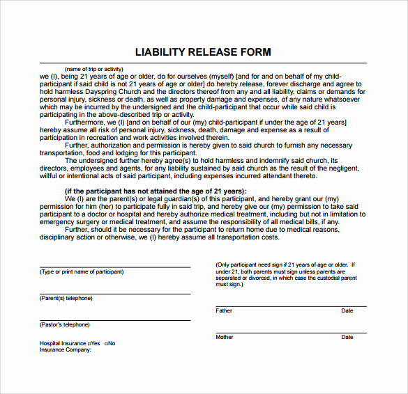 Contractor Liability Waiver form Unique Sample Liability Release form Examples 9 Download Free