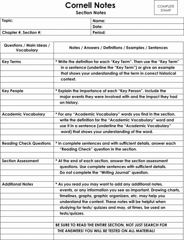 Cornell Notes Template Google Docs Inspirational Avid Cornell Notes Template