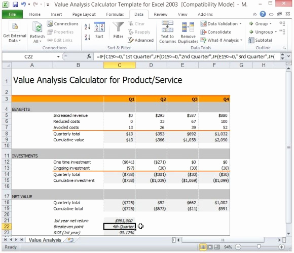 Cost Benefit Analysis Template Excel Best Of Value Analysis Calculator Template for Excel