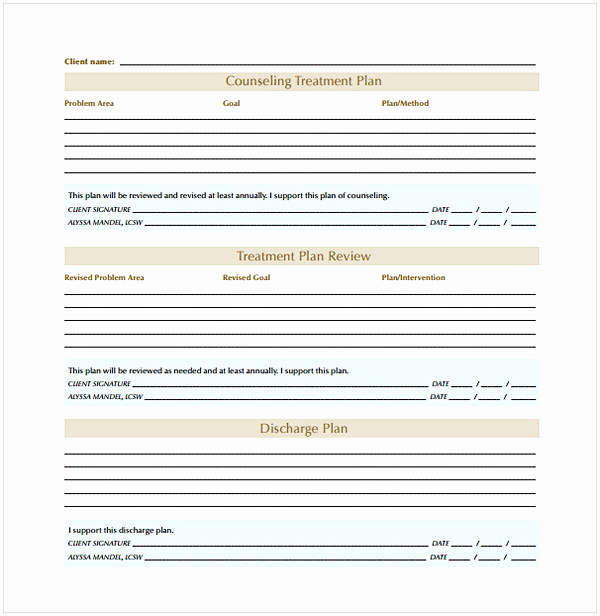 Counseling Treatment Plan Template Pdf Unique Counseling Treatment Plan Template Pdf