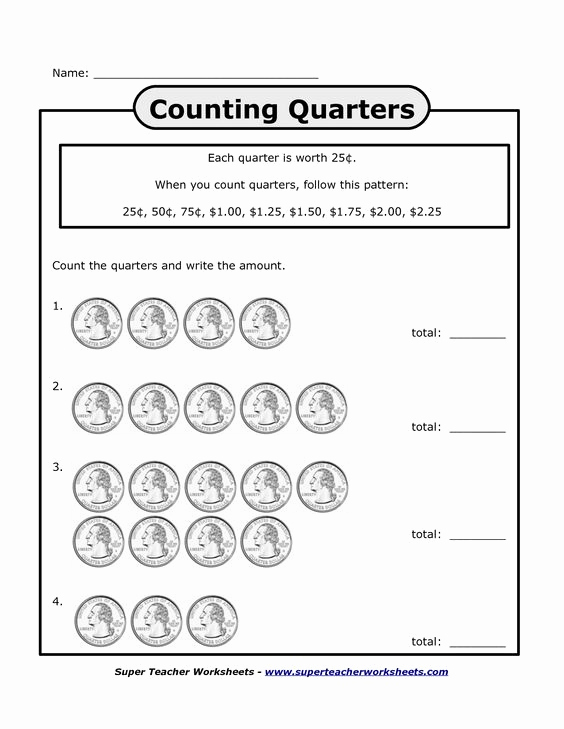 Counting Money Worksheets Pdf New Counting Quarters Worksheets Bing