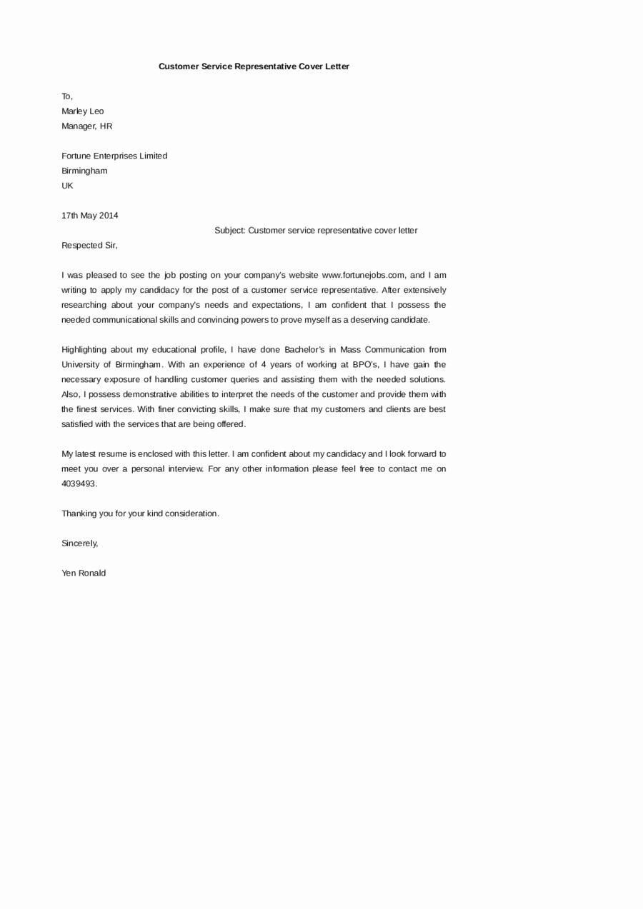 Cover Letter Customer Service Elegant 2019 Customer Service Cover Letter Fillable Printable