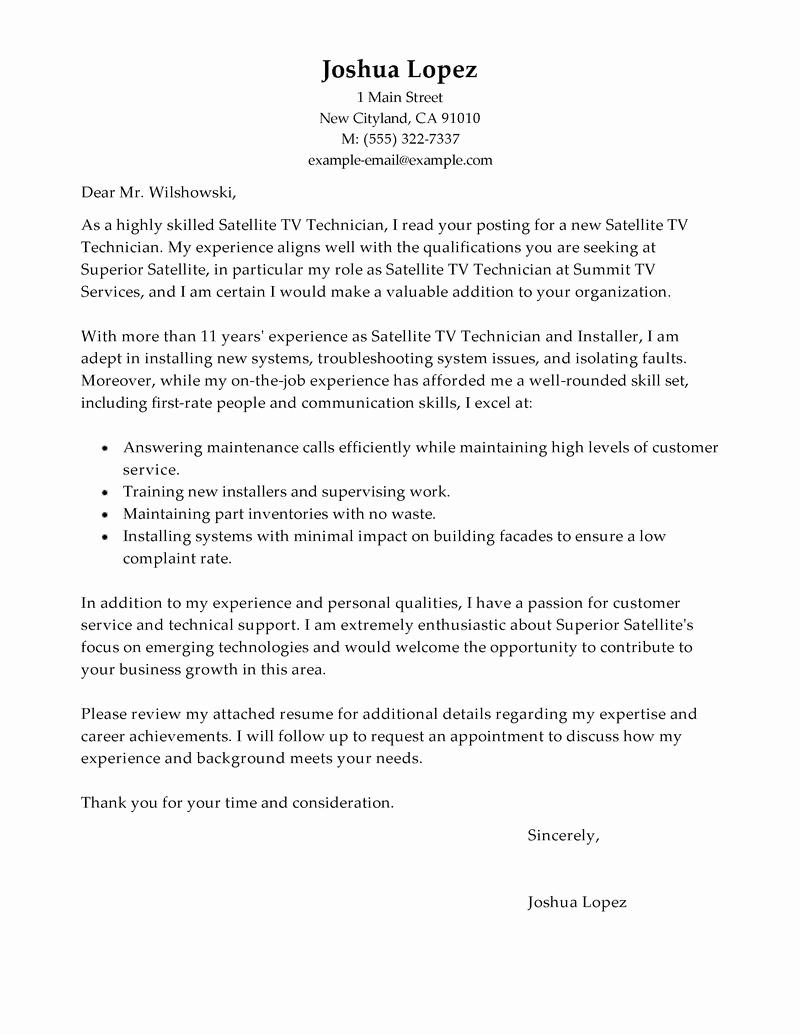 Cover Letter Customer Service Fresh Leading Professional Satellite Tv Technician Installer