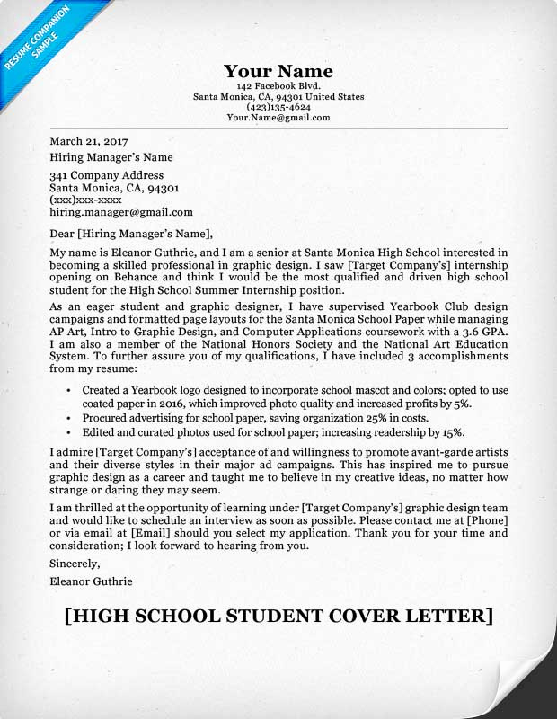 Cover Letter Examples for Students Beautiful High School Student Cover Letter Sample & Guide