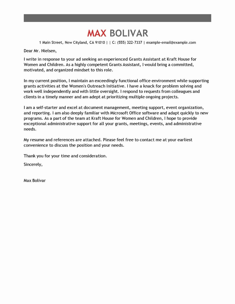 Cover Letter for Administrative Position New Leading Professional Grants Administrative assistant Cover
