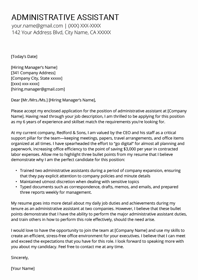 Cover Letter for Administrative Position Unique Administrative assistant Cover Letter Example & Tips
