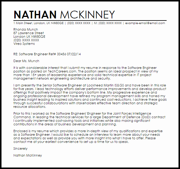 Cover Letter for Engineering Internship Beautiful software Engineer Cover Letter Sample