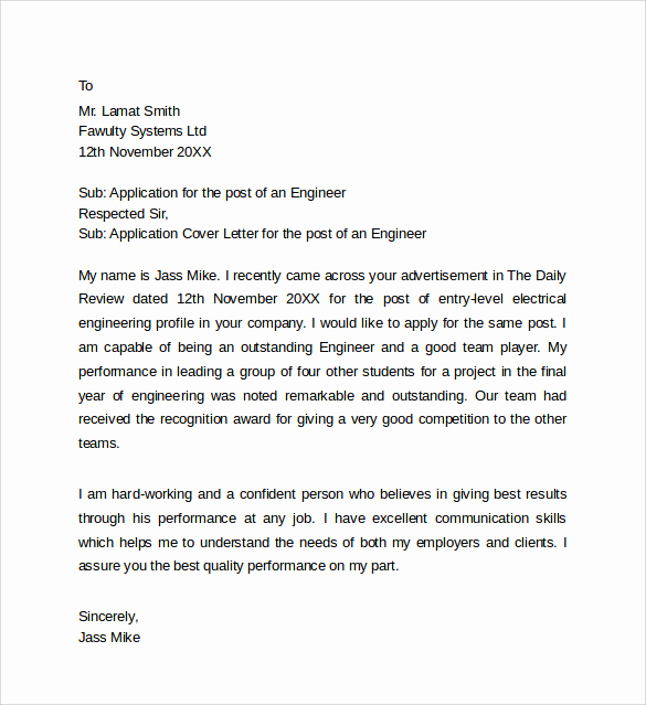 Cover Letter for Engineering Internship Fresh 9 Application Cover Letter Templates