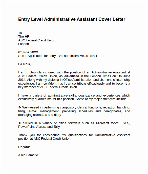 Cover Letter for Executive assistant Best Of Administrative assistant Cover Letter 9 Free Samples