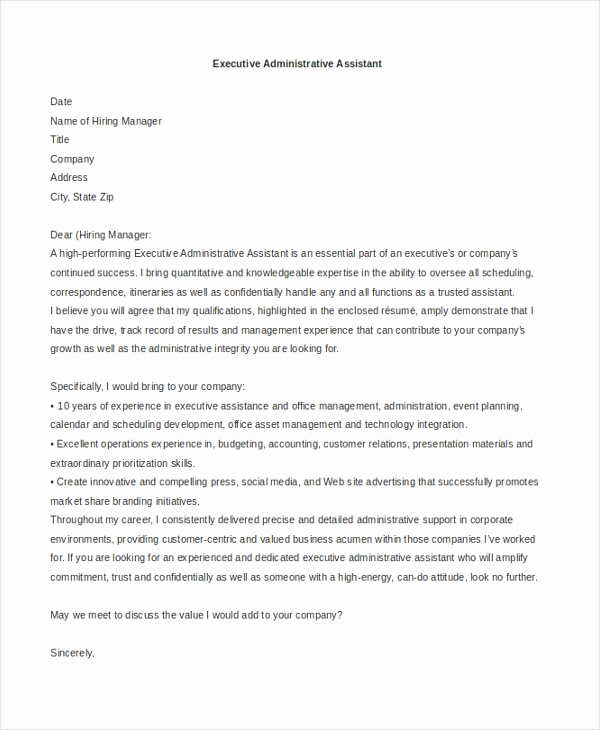 Cover Letter for Executive assistant Elegant Sample Administrative assistant Cover Letter 7 Free