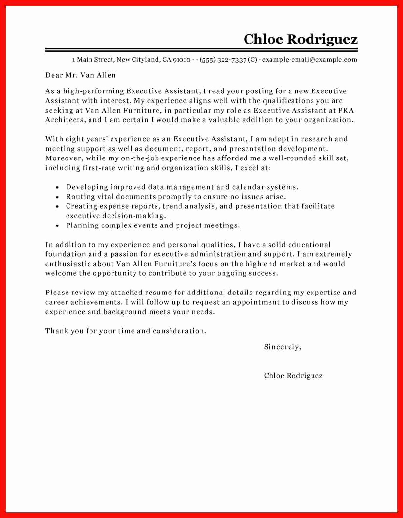 Cover Letter for Executive assistant Fresh Cover Letter Presentation