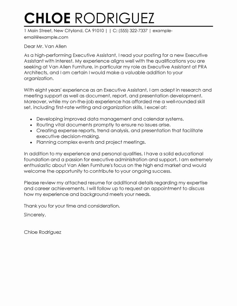Cover Letter for Executive assistant Inspirational Best Executive assistant Cover Letter Examples