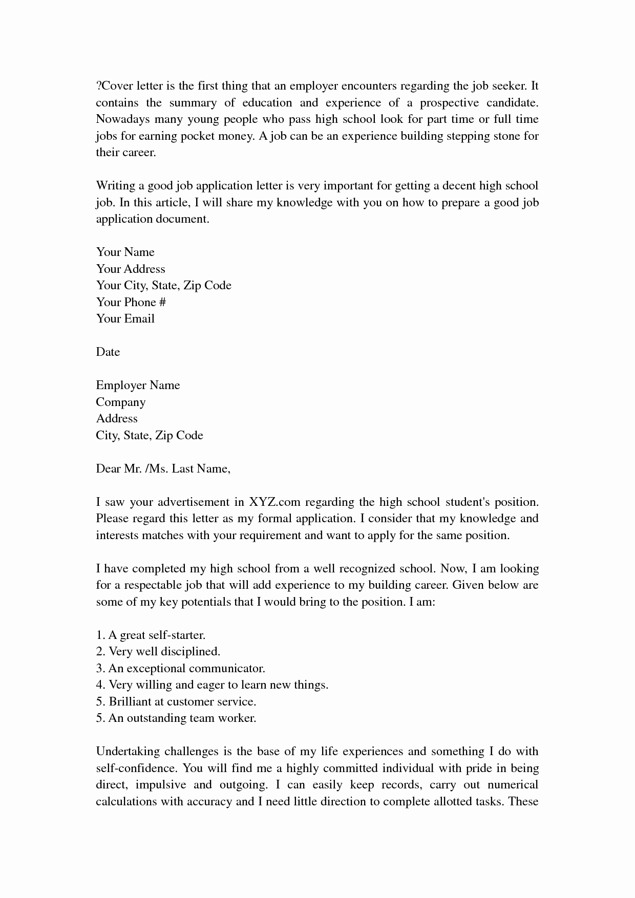 Cover Letter for First Job Awesome First Time Job Seeker Resume Examples How Write for Sample
