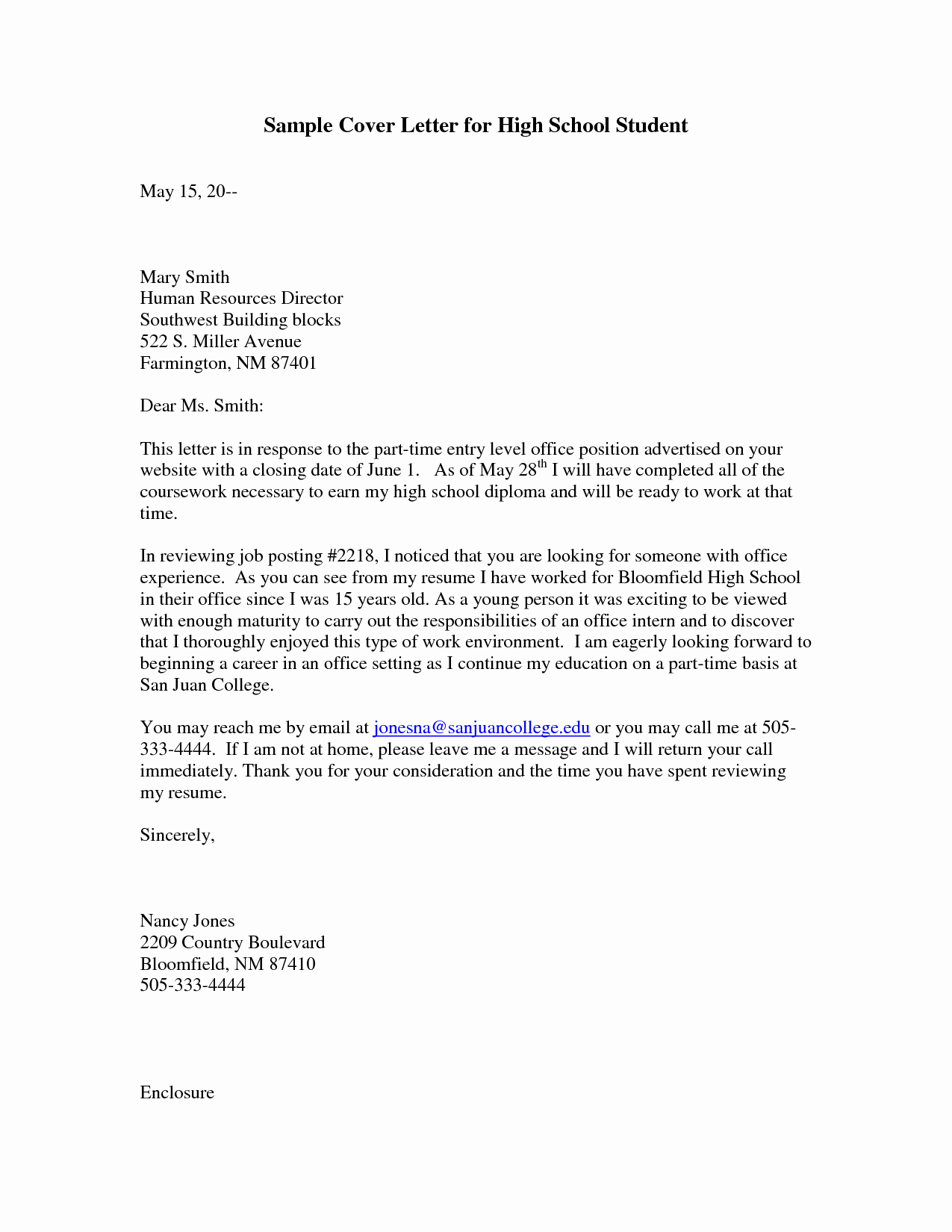 Cover Letter for First Job Beautiful Sample Cover Letter for High School Student with No Work