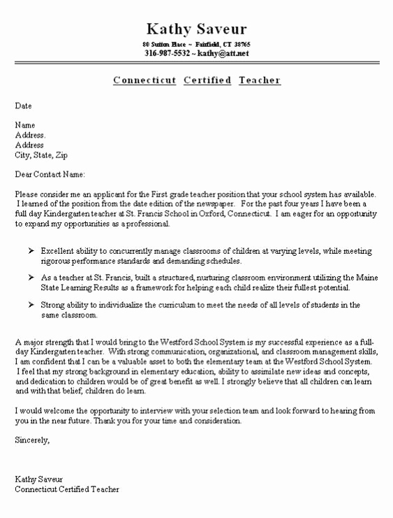 Cover Letter for First Job Inspirational First Grade Teacher Cover Letter Example