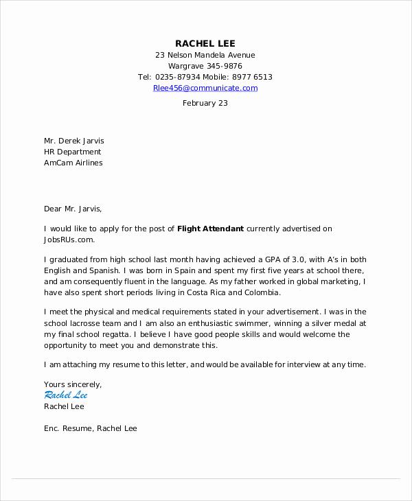 Cover Letter for Flight attendant Fresh Flight attendant Cover Letter 9 Free Word Pdf format
