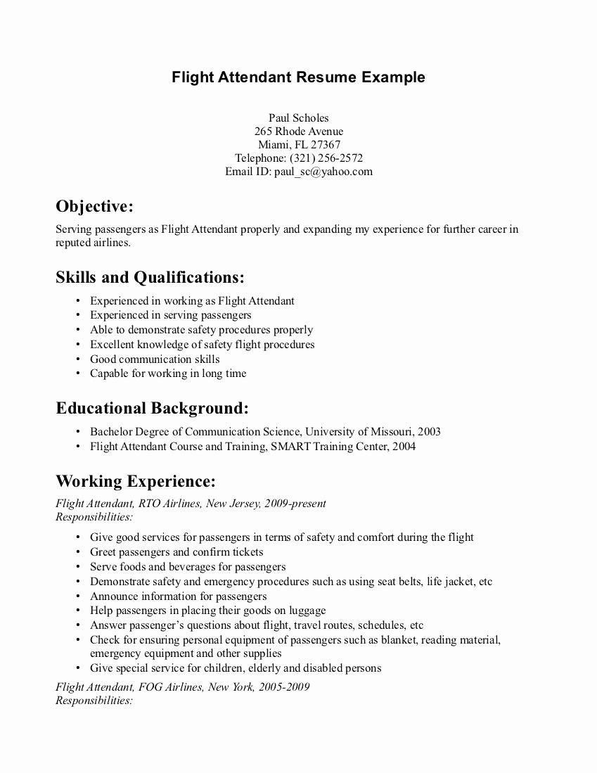 Cover Letter for Flight attendant Fresh Flight attendant Resume Monday Resume
