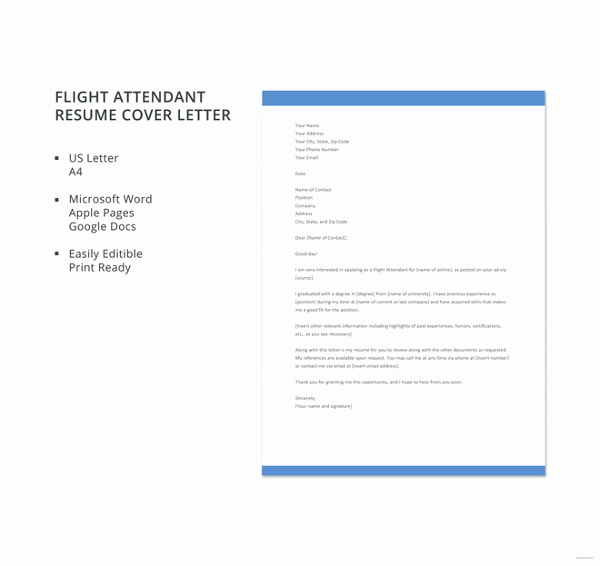 Cover Letter for Flight attendant Inspirational Cover Letter Template – 26 Free Word Pdf Documents