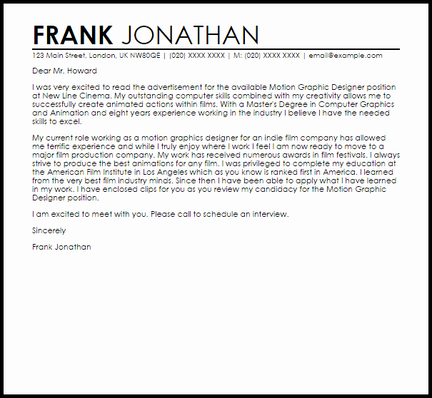 Cover Letter for Graphic Designer Elegant Motion Graphic Designer Cover Letter Sample