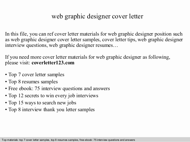 Cover Letter for Graphic Designer Elegant Web Graphic Designer Cover Letter