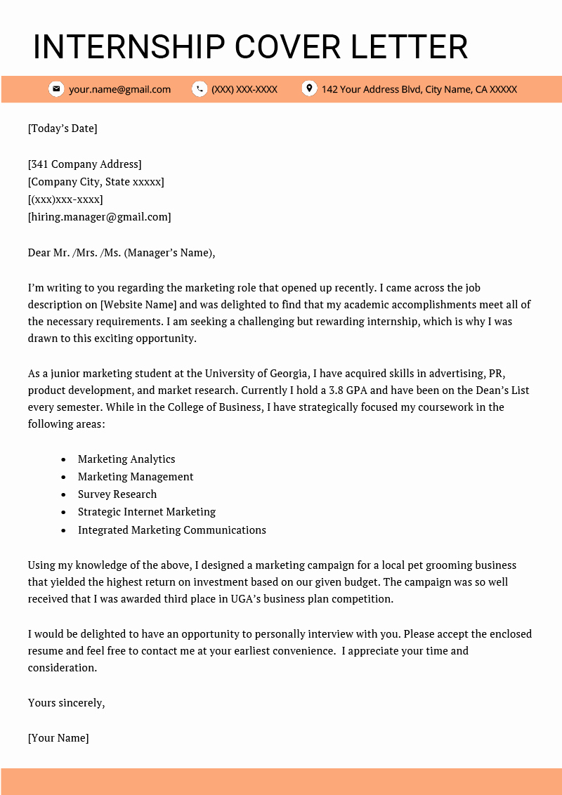Cover Letter for Internship Examples Best Of Internship Cover Letter Example