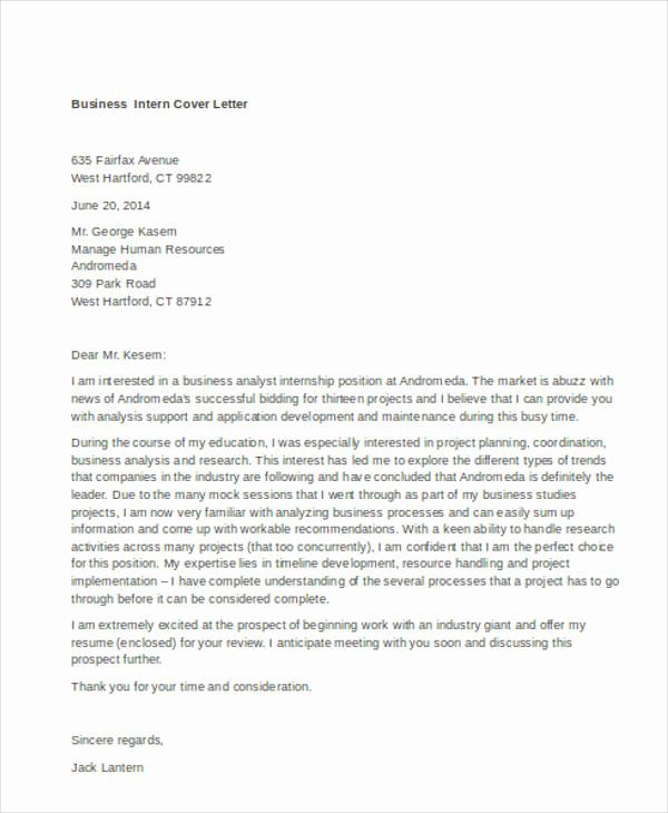 Cover Letter for Internship Examples Lovely 9 Internship Cover Letter Free Sample Example format