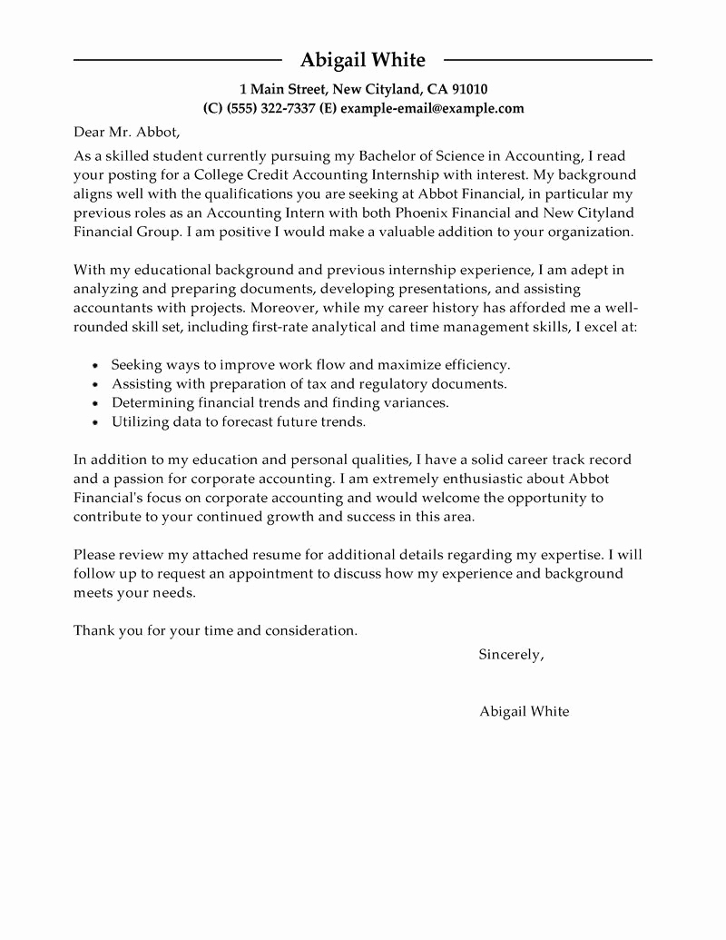 Cover Letter for Internship Examples Lovely Best Training Internship College Credits Cover Letter