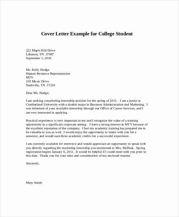 Cover Letter for Internship Examples Lovely Sample Cover Letter for Internship 9 Examples In Word Pdf