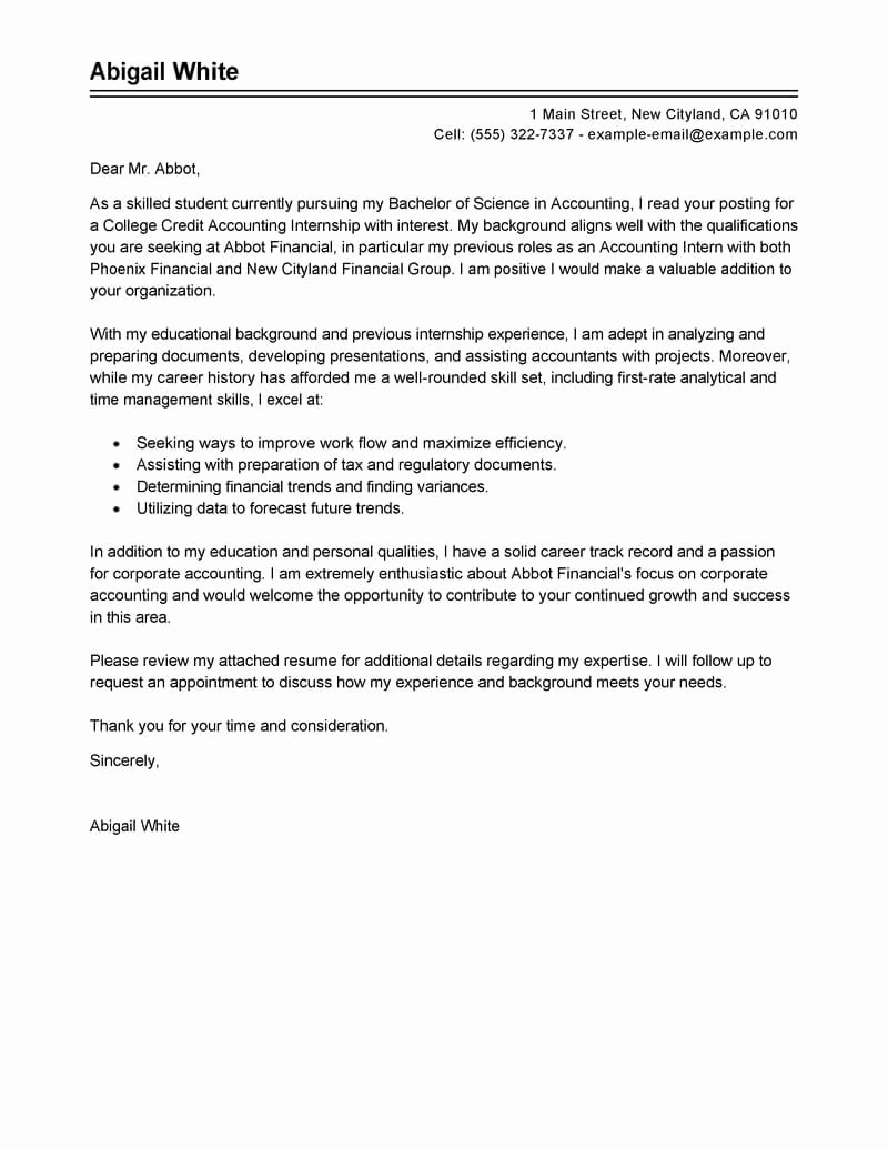 Cover Letter for Internship Examples Luxury Best Training Internship College Credits Cover Letter