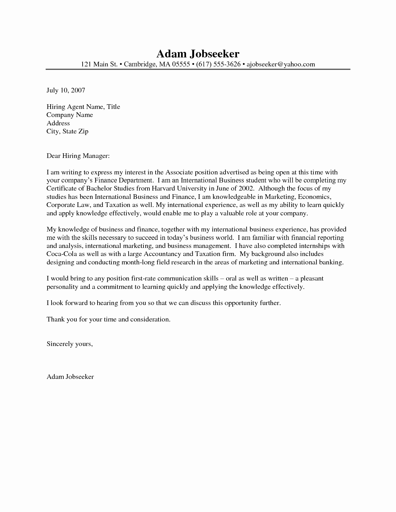 Cover Letter for Internship Examples Luxury Example Cover Letter for Internship