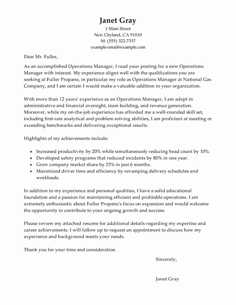 Cover Letter for Manager Position Awesome Best Operations Manager Cover Letter Examples