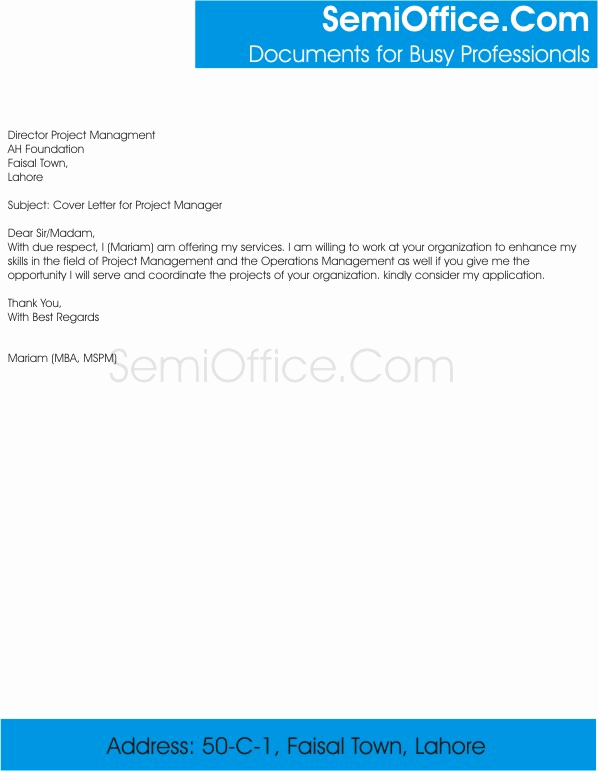 Cover Letter for Manager Position Best Of Cover Letter for Project Manager and Sample Job Application