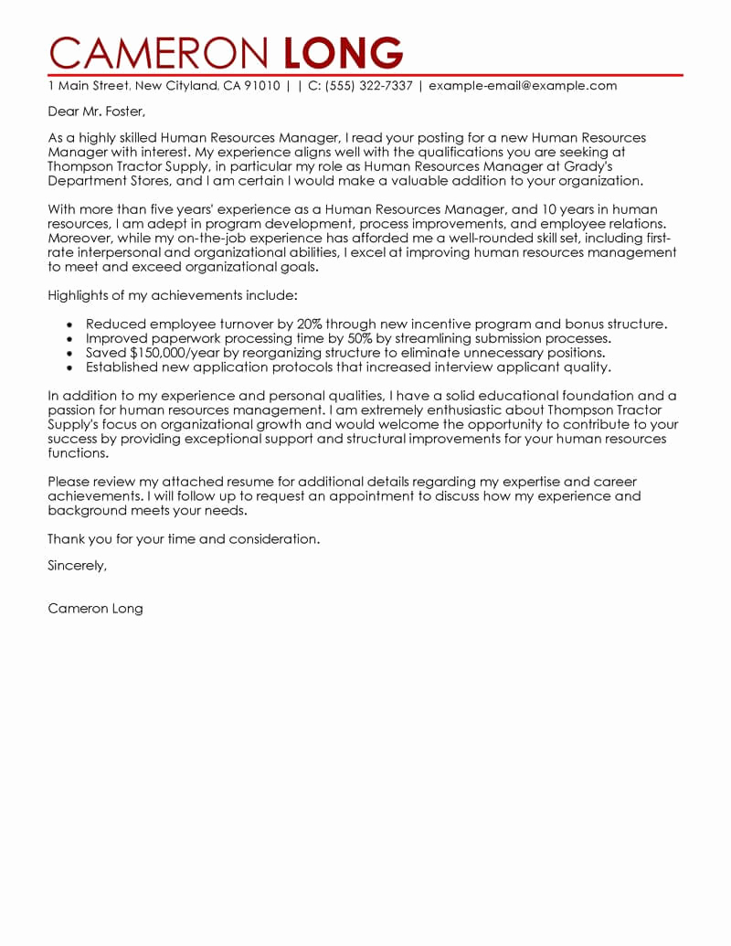 Cover Letter for Manager Position Fresh Best Human Resources Manager Cover Letter Examples