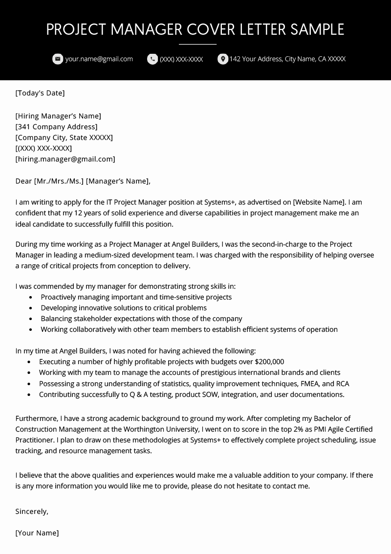 Cover Letter for Manager Position Fresh Project Manager Cover Letter Example